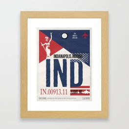Vintage Indianapolis Indiana Luggage Tag Poster Framed Art Print