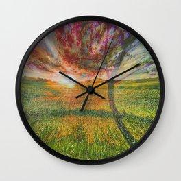 field and tree Wall Clock