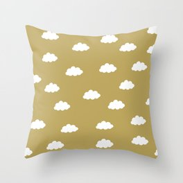 White clouds in green yellow background Throw Pillow