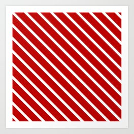 Chilli Diagonal Stripes Art Print
