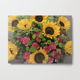 Sunflowers and Little Red Roses Metal Print