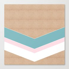 wooden geometric pink and blue Canvas Print