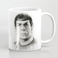 spock Mugs featuring Spock by Olechka