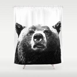 Black and white bear portrait Shower Curtain