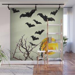 GOTHIC HALLOWEEN FULL MOON BLACK FLYING BATS DESIGN Wall Mural