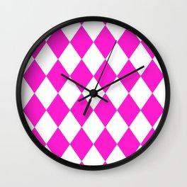 Diamonds (Hot Magenta/White) Wall Clock