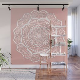 White Flower Mandala on Rose Gold Wall Mural