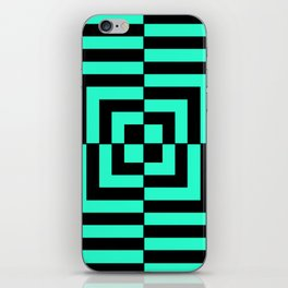 GRAPHIC GRID DIZZY SWIRL ABSTRACT DESIGN (BLACK AND GREEN AQUA) SERIES 5 OF 6 iPhone Skin