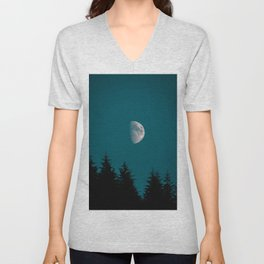 Gibbous Moon Over Pine Tree Silhouette Blue Sky Nature At Night Unisex V-Neck