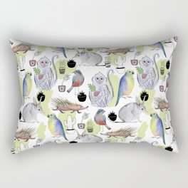 Seamless pattern with the monkey, Bilby, parrot, cactus, bird, porcupine. Jungle style. Summer backg Rectangular Pillow