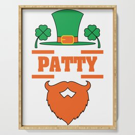 Its Patty Time St. Patricks Day 2019 T-Shirt Design Irish Beard Four Leaf Clover Saint Patrick's Day Serving Tray