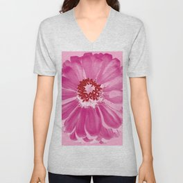 Abstract Photo Large Pink Flower Unisex V-Neck