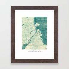 Copenhagen Map Blue Vintage Framed Art Print
