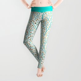 Berry Branches – Turquoise & Gold Leggings
