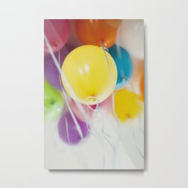 Bunch of pastel colored balloons flying in the air Metal Print