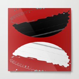 red black white grey abstract digital painting Metal Print