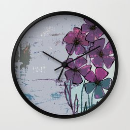 Meadow flowers lilac Wall Clock