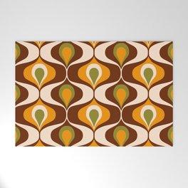 Retro 70s ovals op-art pattern brown, orange Welcome Mat