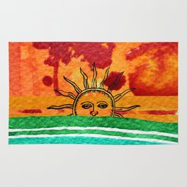 Sunset in planet Bizarro Rug