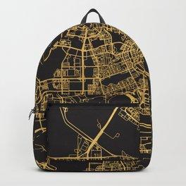AMSTERDAM NETHERLAND GOLD ON BLACK CITY MAP Backpack