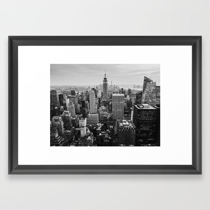Black white nyc skyline framed art print by lenamirisola society6