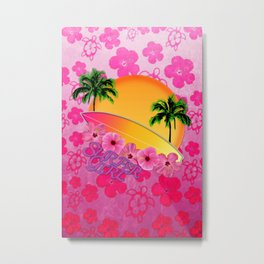 Surfer Girl Pink Tropical Flowers Metal Print