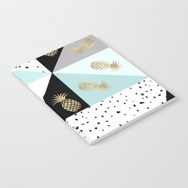 Pastel color block watercolor dots faux gold pineapple Notebook