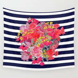 Vintage Floral Burst Print with Navy Stripes Wall Tapestry