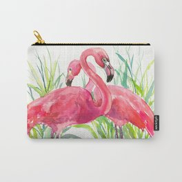 Flamingos, two flamingo birds, pink green art Carry-All Pouch