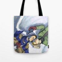 destiel Tote Bags featuring Destiel Snow Angels by SmercArt
