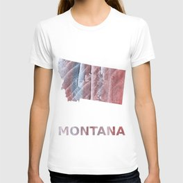 Montana map outline Red Gray Clouds watercolor T-shirt