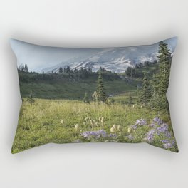 Wildflowers and Mount Rainier Rectangular Pillow