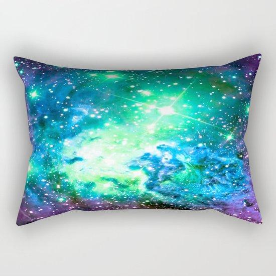 Fox Fur Nebula BRIGHT : Green Blue Purple Galaxy Rectangular Pillow
