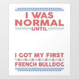 French Bulldog Ugly Christmas Sweaters Art Print
