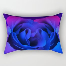 Blue Neon Rose Rectangular Pillow