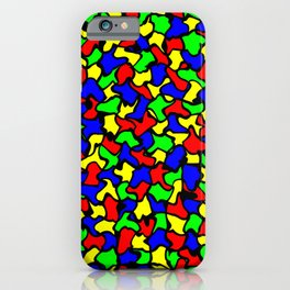 Red Green and Blue Wobble Tiles iPhone Case