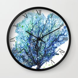 Fan Coral - Aqua Wall Clock