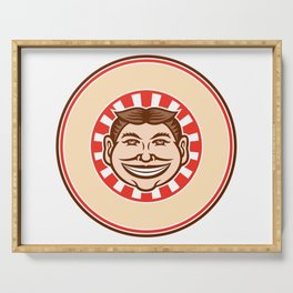 Grinning Funny Face Mascot Circle Retro Serving Tray