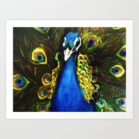 modest mouse Art Prints featuring Modest Peacock by Erin Glynn