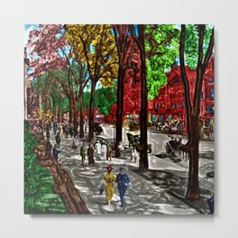 'Saturday on Broadway with George' Landscape by Jeanpaul Ferro Metal Print