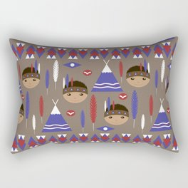 Seamless kids cute American indian native retro background pattern Rectangular Pillow