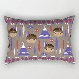Seamless kids cute American indian native retro background pattern Rectangular Pillow