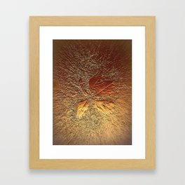 Rust glitter leaves in fall Framed Art Print