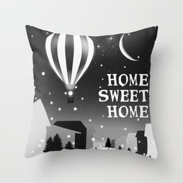 Hot Air Balloon Home Sweet Home snowy little town night stars and moon home decor Christmas spirit Throw Pillow
