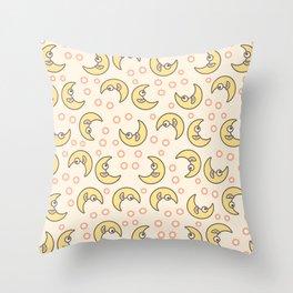 Smiling moons pattern Throw Pillow