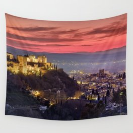 The Alhambra Palace, Cathedral and and Granada at sunset. Winter. Wall Tapestry