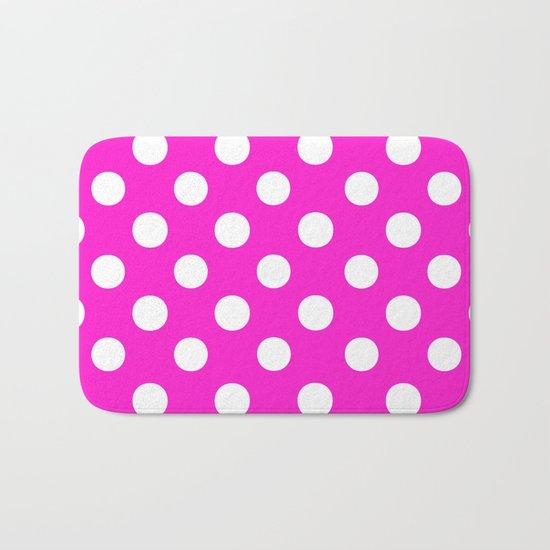 Polka Dots (White/Hot Magenta) Bath Mat