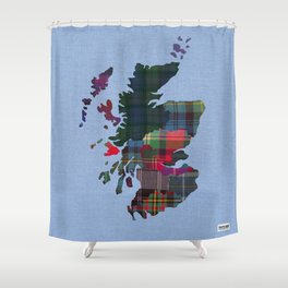 Scotland Counties Fabric Map Art Shower Curtain