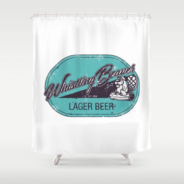 Whistling Beaver Lager Beer Shower Curtain