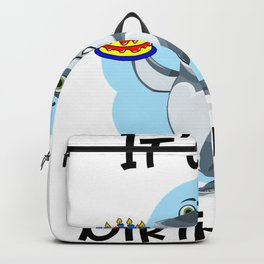 sharkbirthdayblack Backpack